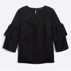 Tiered Bell-Sleeve Top in Black
